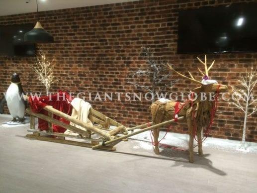 Wooden Santa Sleigh And Reindeer